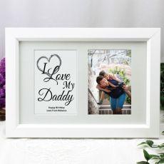 Dad Photo Frame Typography Print 4x6 White