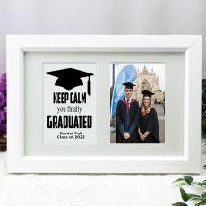Graduation Photo Frame Typography Print 4x6 White