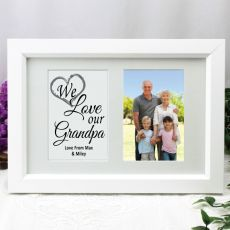 Grandpa Photo Frame Typography Print 4x6 White