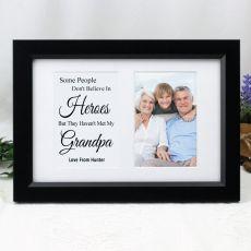Grandpa Photo Frame Typography Print 4x6 Black