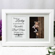 Mum Photo Frame Typography Print 4x6 White
