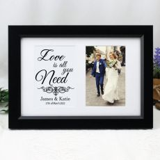 Wedding Photo Frame Typography Print 4x6 Black