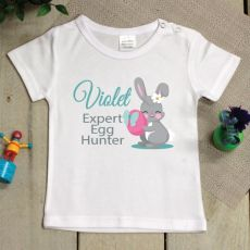 Personalised Easter Shirt - 1-2 years - Egg Hunter Pink