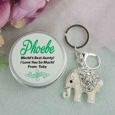 Personalised Aunt Diamante Elephant Keyring Gift
