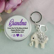 Personalised Grandma Diamante Elephant Keyring Gift