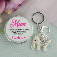 Personalised Mum Diamante Elephant Keyring Gift