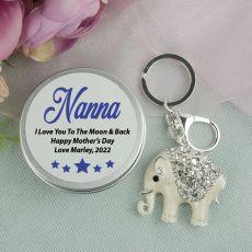 Personalised Nana Diamante Elephant Keyring Gift
