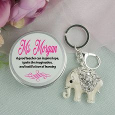 Personalised Teacher Diamante Elephant Keyring Gift
