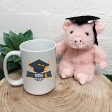 Personalised Graduation Coffee Mug and Pig Set