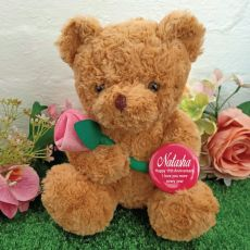 Anniversary Bear with Pink Rose & Badge