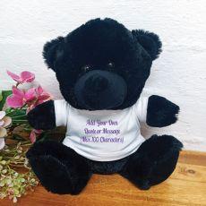 Custom Text T-Shirt Bear Black Plush