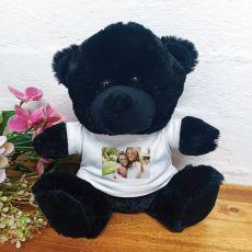 Personalised Photo T-Shirt Teddy Bear Black