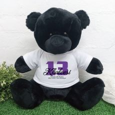 13th Birthday Personalised Black Bear with T-Shirt 40cm