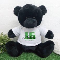 16th Birthday Personalised Black Bear with T-Shirt 40cm