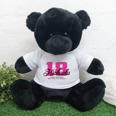 18th Birthday Personalised Black Bear with T-Shirt 40cm