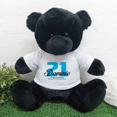 21st Birthday Personalised Black Bear with T-Shirt 40cm