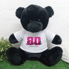 80th Birthday Personalised Black Bear with T-Shirt 40cm