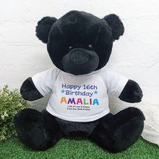 16th Birthday Personalised Black Bear Rainbow Print 40cm