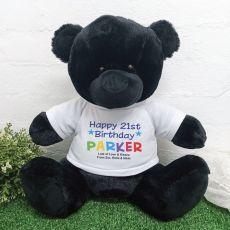 21st Birthday Personalised Black Bear Rainbow Print 40cm