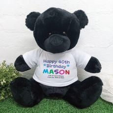 40th Birthday Personalised Black Bear Rainbow Print 40cm