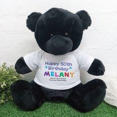 50th Birthday Personalised Black Bear Rainbow Print 40cm