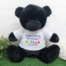 80th Birthday Personalised Black Bear Rainbow Print 40cm
