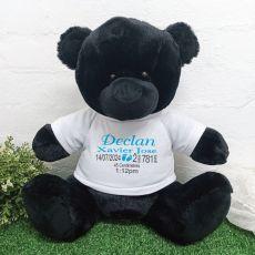 Personalised Newborn Bear 40cm Black Plush