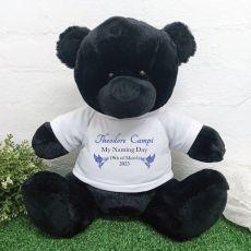 Personalised Naming day T-Shirt Bear 40cm Black