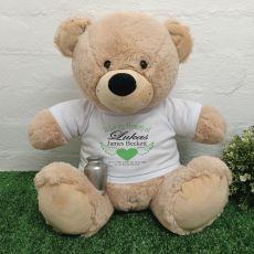 In Loving Memory Teddy Bear Silver Urn Memorial Cream 40cm