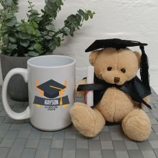 Personalised Graduation Coffee Mug and Bear Set