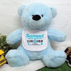 Baby Bear with Bib 40cm Light Blue Owl