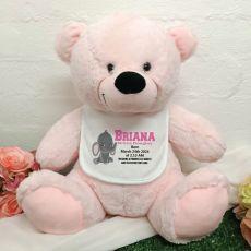 Baby Bear with Bib 40cm Light Pink Elephant