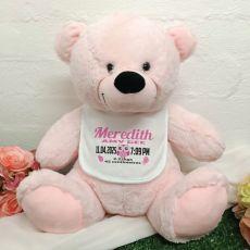Baby Bear with Bib 40cm Light Pink Owl