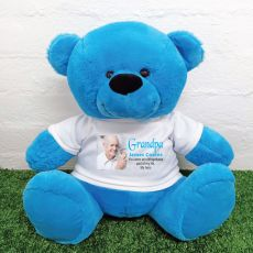 Personalised Memorial Photo Teddy Bear 40cm Blue