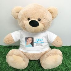 Personalised Memorial Photo Teddy Bear 40cm Cream