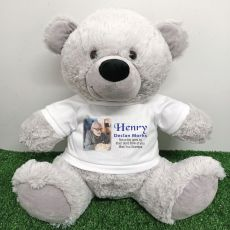 Personalised Memorial Photo Teddy Bear 40cm Grey