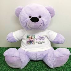 Personalised Memorial Photo Teddy Bear 40cm Lavender