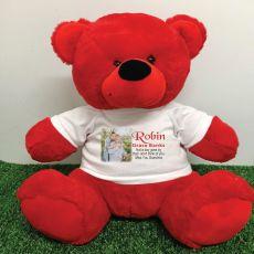 Personalised Memorial Photo Teddy Bear 40cm Red