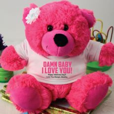 Naughty I Love You Valentines Bear - Hot Pink