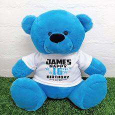 Personalised 16th Birthday Bear Blue 40cm
