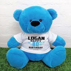 Personalised 80th Birthday Bear Blue 40cm