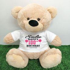 Personalised 100th Birthday Bear Cream 40cm