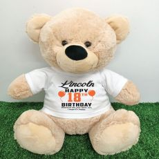 Personalised 18th Birthday Bear Cream 40cm