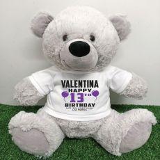 Personalised 13th Birthday Bear Grey 40cm