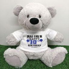 Personalised 30th Birthday Bear Grey 40cm