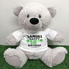 Personalised 50th Birthday Bear Grey 40cm