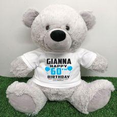 Personalised 60th Birthday Bear Grey 40cm