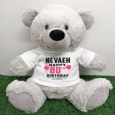 Personalised 80th Birthday Bear Grey 40cm