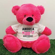 Personalised 100th Birthday Bear Pink 40cm