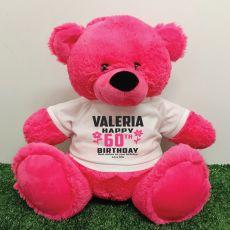 Personalised 60th Birthday Bear Pink 40cm
